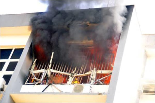 INEC Headquarters In Abuja Goes Up In Flames As Fire Service Battles To Quench The Inferno 1