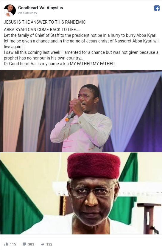 I Would Have Raised Abba Kyari From Dead If Given The Chance - Pastor Goodheart Aloysius 2