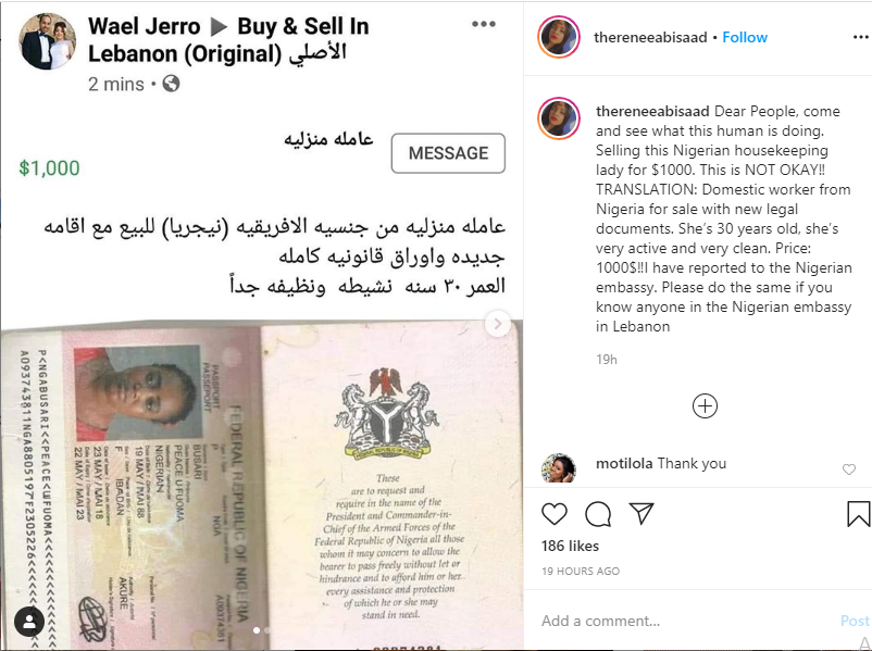 FG In Search For Lebanese Who Offered To Sell Nigerian Woman For $1,000 On Facebook 2