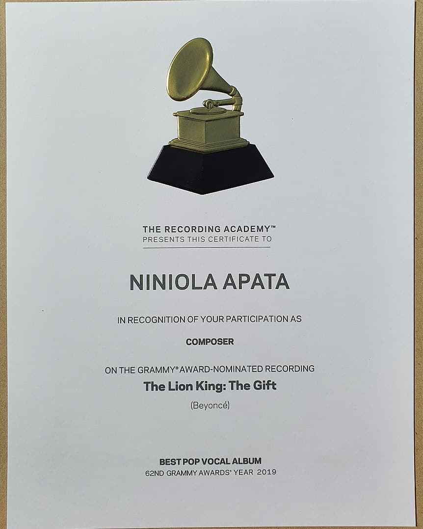Niniola Receives Grammy Certificate For Working On Beyonce's 'The Gift' Album [Photo] 2