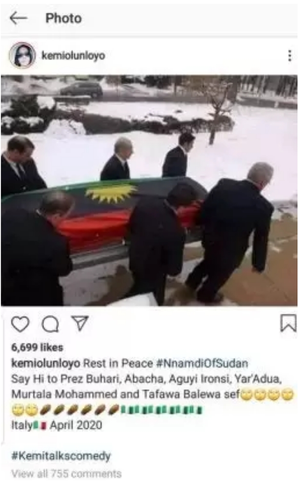 Kemi Olunloyo Insists Nnamdi Kanu Has Died Italy, Shares Burial Photo Of The IPOB Leader 2