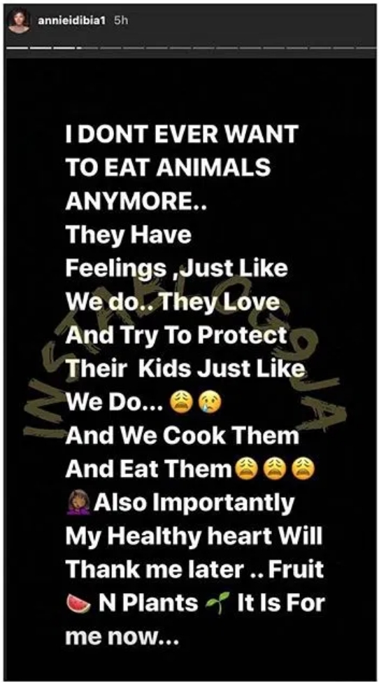 Actress Annie Idibia Turns Vegan, Reveals Why She Won't Be Eating Animals Anymore 2