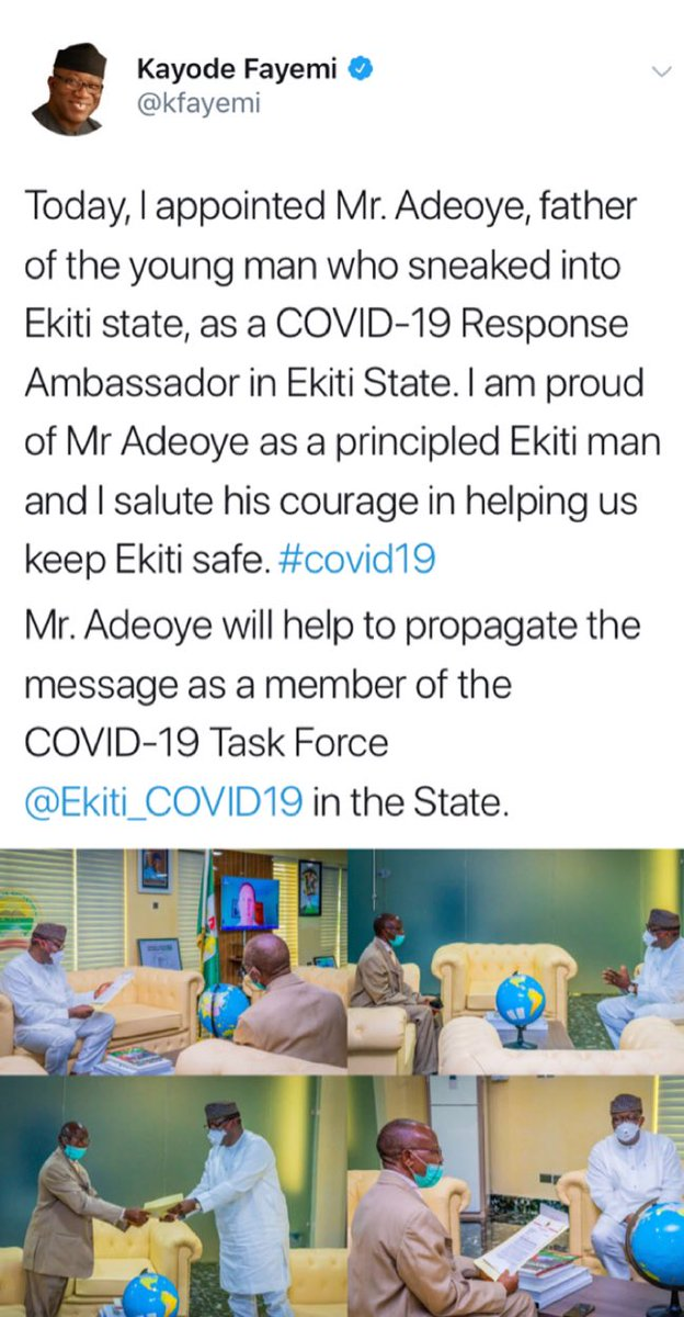 EKITI: Governor Fayemi Appoints Man Who Rejected His Son For Breaking COVID-19 Lockdown Rules 2