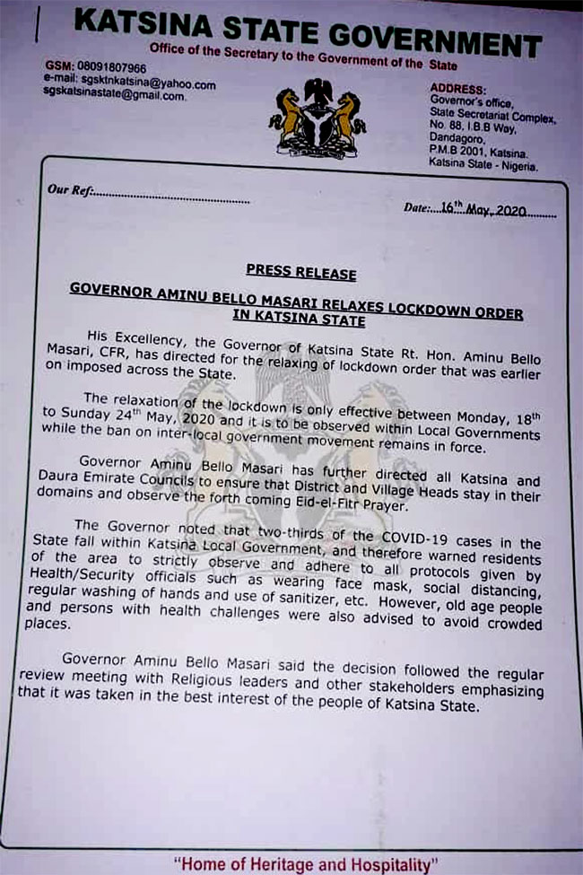 COVID-19: Governor Masari Relaxes Lockdown In Katsina For One Week 2