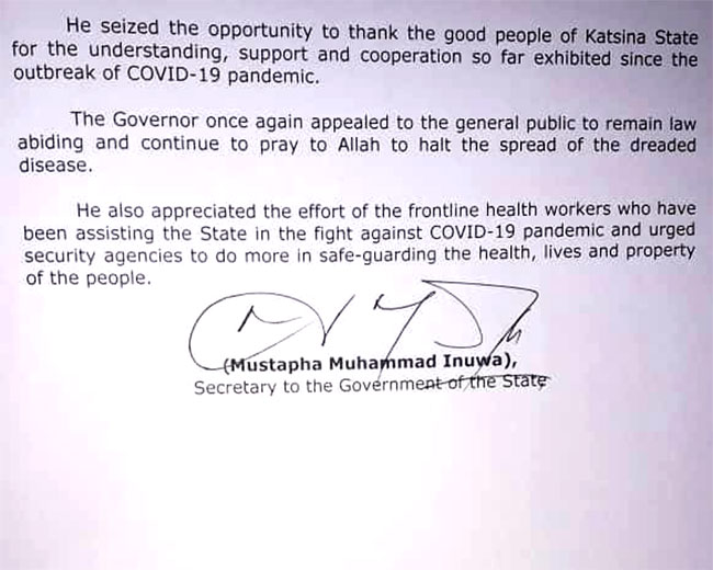 COVID-19: Governor Masari Relaxes Lockdown In Katsina For One Week 3