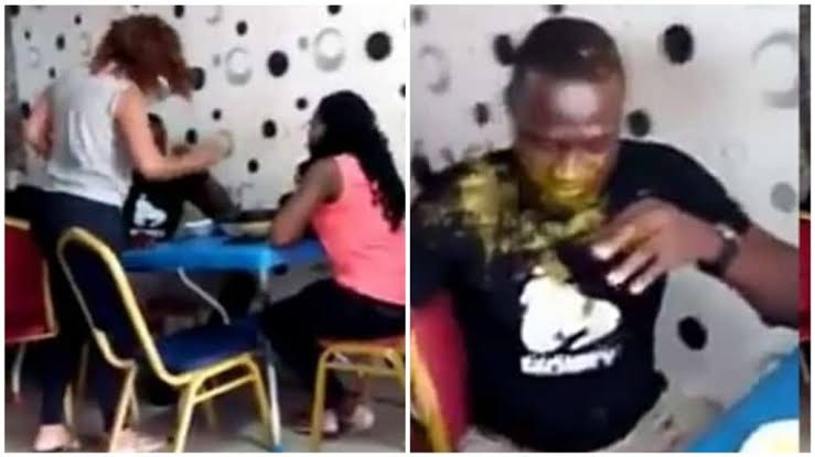 Wife Slaps Husband Multiple Times After Catching Him With Side Chick, Pours Soup On Him [Video] 1