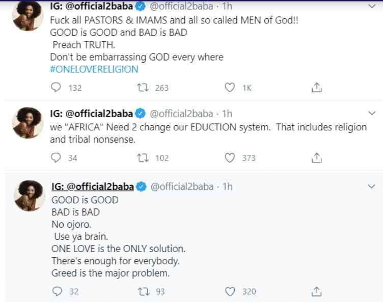 """""""F*ck Pastors, Imams And All So Called Men Of God"""" – 2Face Idibia Blast Nigerian Religious Leaders 2"""