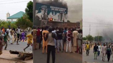 Katsina Youths Burns President Buhari's Billboard, Protests Repeated Attacks By Bandits [Photos/Video] 5