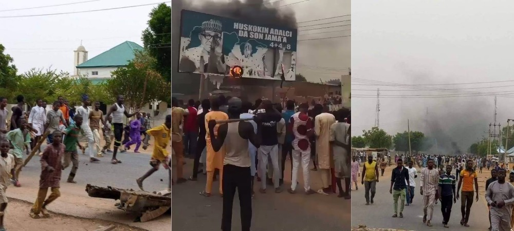 Katsina Youths Burns President Buhari's Billboard, Protests Repeated Attacks By Bandits [Photos/Video] 1