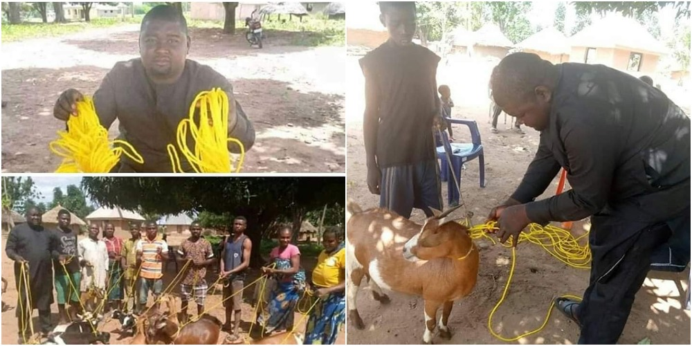 BENUE: Hon. Daniel Ukpera Donates Ropes To His Community Members To Tie Their Goats [Photos] 1