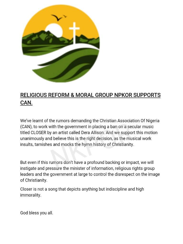 """Religious Group Joins CAN To Call For Ban On A Song Titled """"Closer"""" By Dera Allison [Audio] 2"""