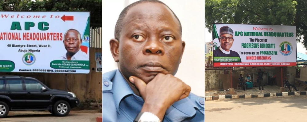 """""""We Are Tired Of Him"""" - APC Pulls Down Oshiomhole's Posters And Portraits At National Secretariat 1"""