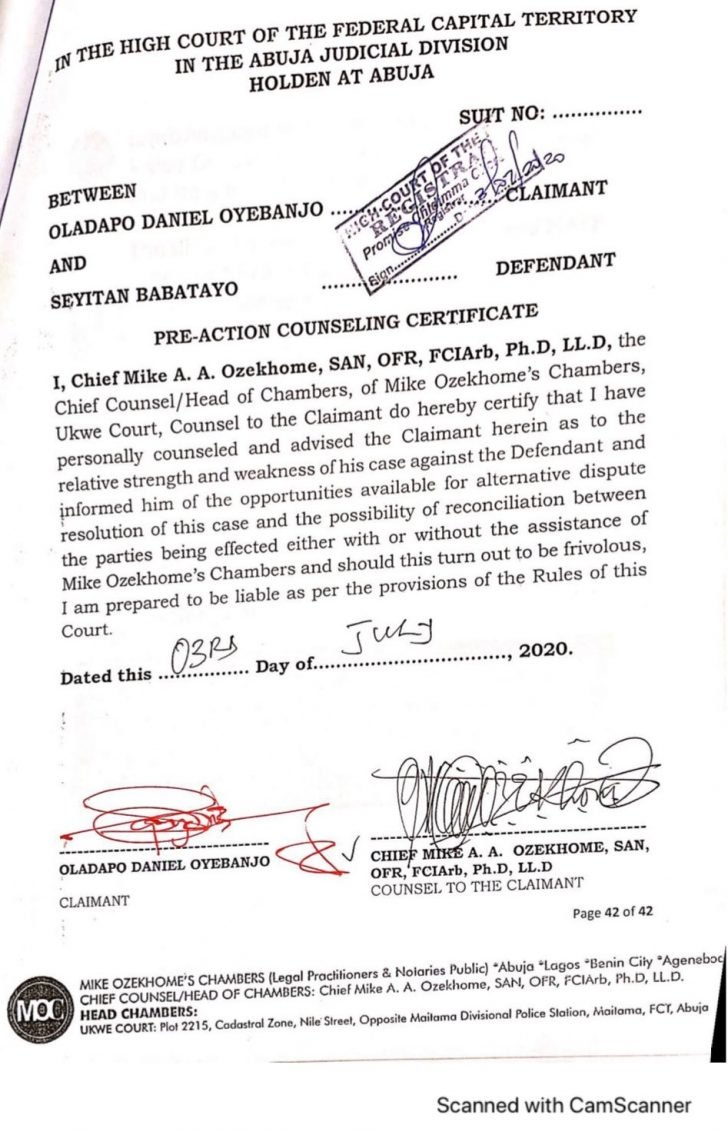 Dbanj's Lawyer, Mike Ozekhome Sues Seyitan Babatayo For N1.5 Billion Over Rαpe Allegation 2