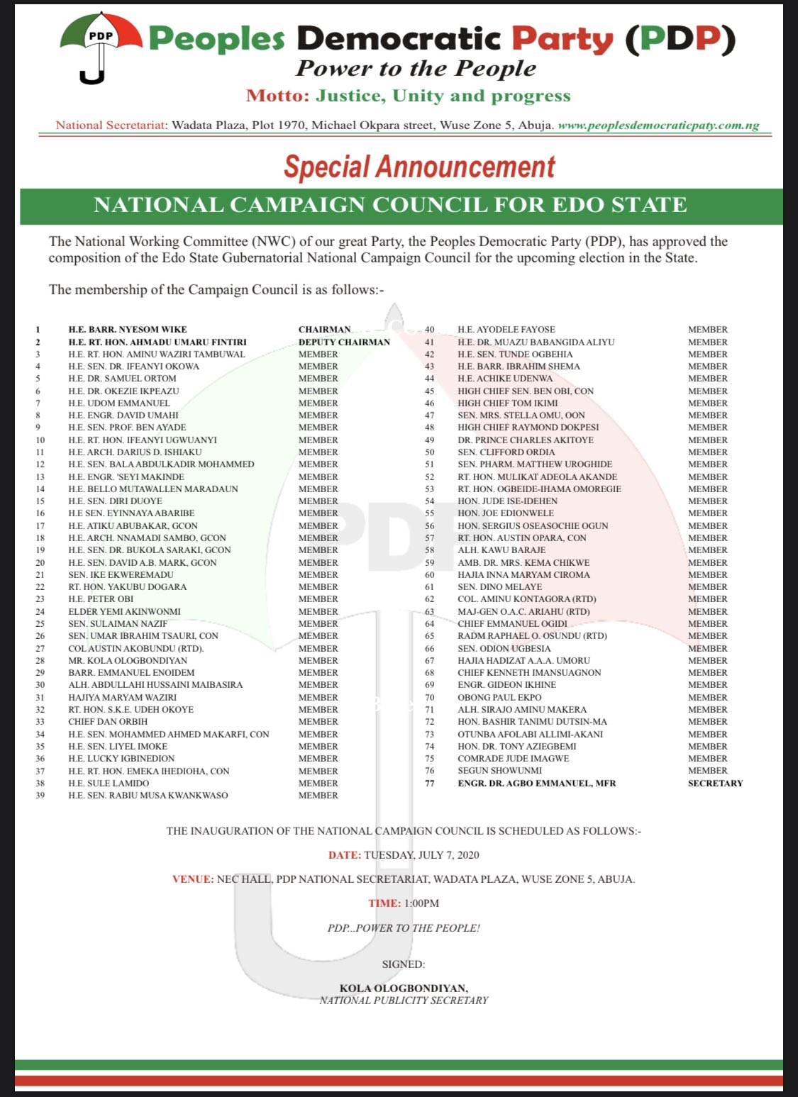 Rivers Governor, Wike Leads 77-Member PDP Campaign Council For Edo Governorship Election 2
