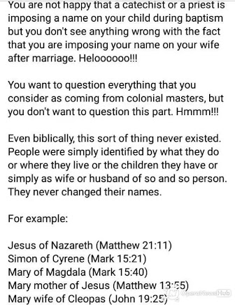 It's Not Biblical For Woman To Bear Husband's Name Or Surname After Marriage - Fr. Kelvin Ugwu 3