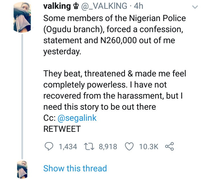 Twitter Influencer Accuses Police Of Beating Him Up And Extorting N260K From Him In Lagos 2