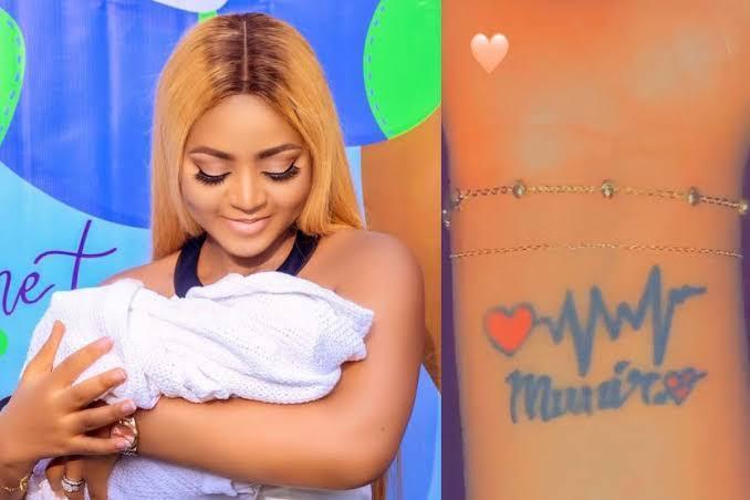 Actress Regina Daniels Tattoos Her Son's Name 'Munir' On Her Wrist [Photo/Video] 1