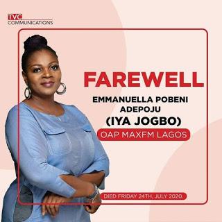 Popular Max FM radio presenter Iya Jogbo is dead 2