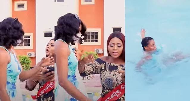 Watch The Moment Regina Daniels Angrily Pushes Her Staff Into Swimming Over An Argument [Video] 1