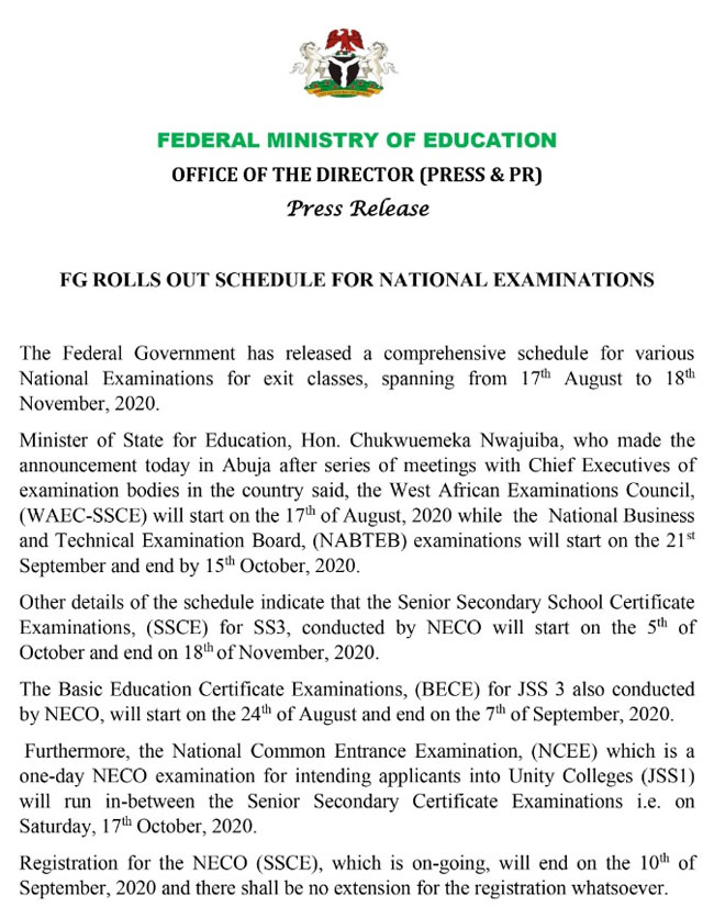 Nigerian Government Announces Dates For NECO, NABTEB, Other Examinations 2