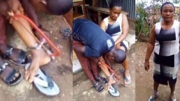 Woman Rescued After Being Chained To A Pillar By Her Abusive Husband In Ebonyi [Photos] 1