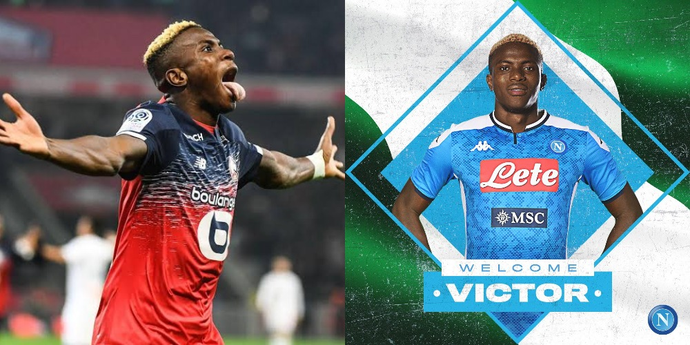 Napoli Announces Signing Of Nigerian Striker, Victor Osimhen From Lille 1