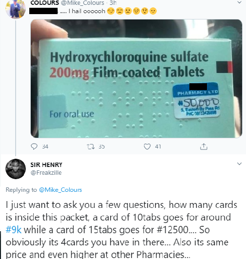 Hydroxychloroquine Sells For N50,000 In Nigeria After US Doctor Says It Cures Coronavirus 4