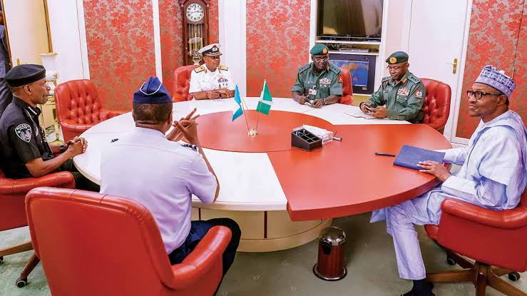 "Insecurity: ""You Are Doing Your Best As Far As I'm Concerned"" - Buhari Tells Service Chiefs 1"