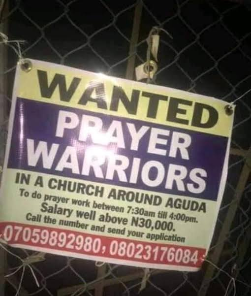 Lagos Church Wants Unemployed Nigerians To Apply For Prayer Warrior Job For N30,000 Salary 2