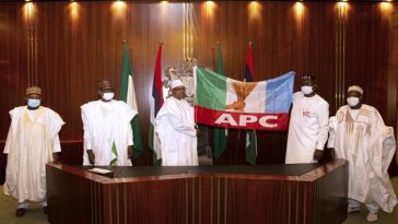 President Buhari Endorses Pastor Ize-Iyamu For Edo Governorship, Hands Over APC Flag [Photos] 7