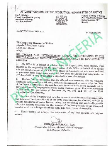 Malami Orders IGP Adamu To Provide Adequate Security For 17 APC Lawmakers In Edo 2