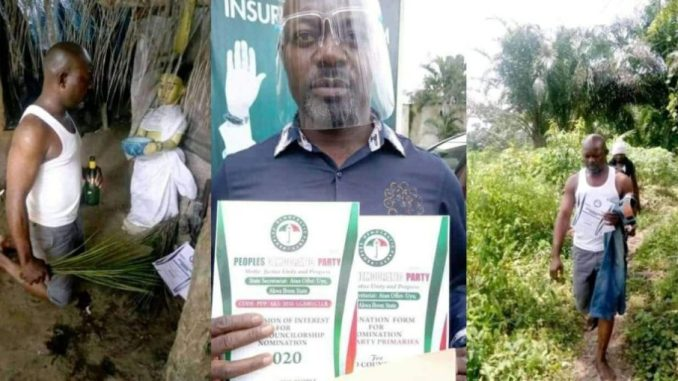 PDP Councillorship Aspirant Visits Shrine With His Nomination Form To Consults Deity [Photos] 1