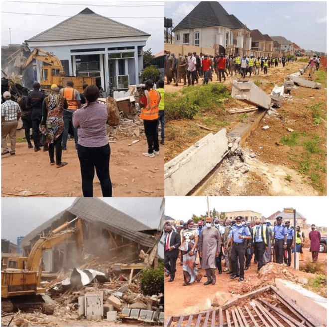 Enugu Government Demolishes House Of Man Who Pulled Down Airport Fence [Photos] 1