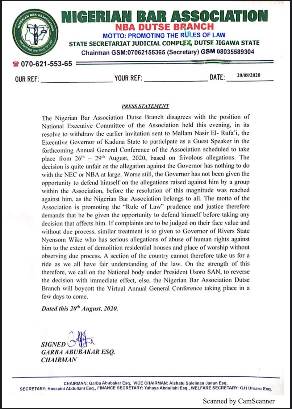 NBA Jigawa Threatens To Boycott Lawyers' Conference Over Removal Of Governor El-Rufai 2