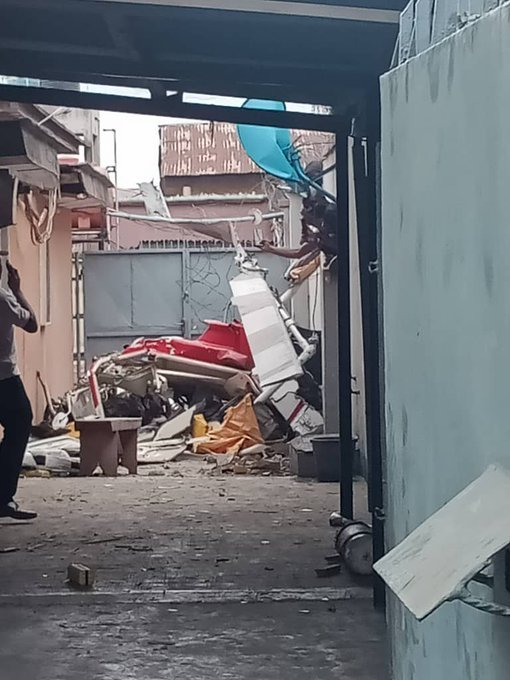 UPDATE: Photos from the scene of helicopter crash in Opebi Lagos 22