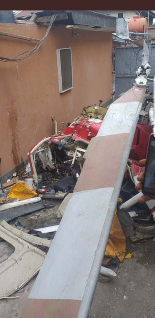 UPDATE: Photos from the scene of helicopter crash in Opebi Lagos 16