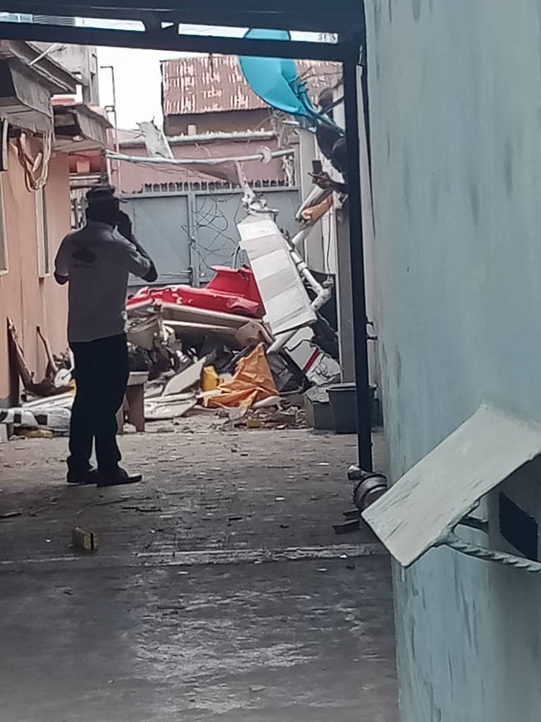 UPDATE: Photos from the scene of helicopter crash in Opebi Lagos 14