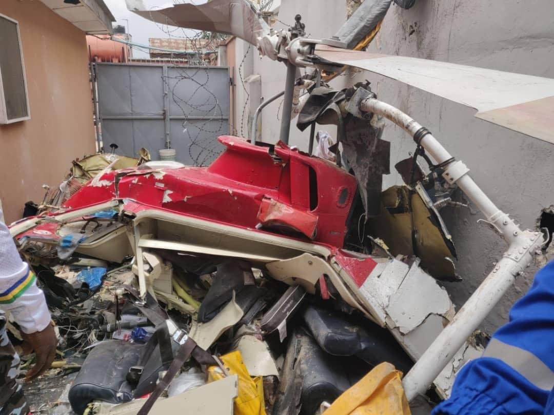 UPDATE: Photos from the scene of helicopter crash in Opebi Lagos 1