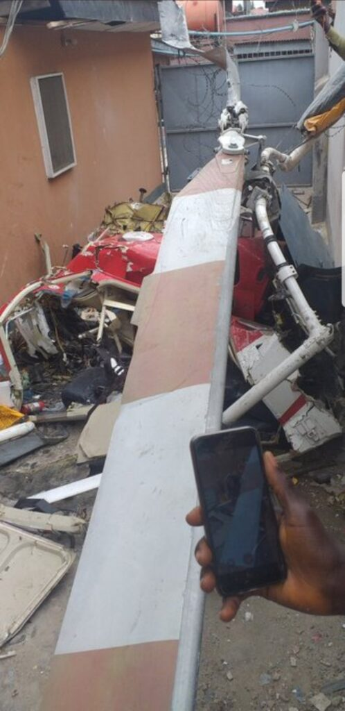 UPDATE: Photos from the scene of helicopter crash in Opebi Lagos 13