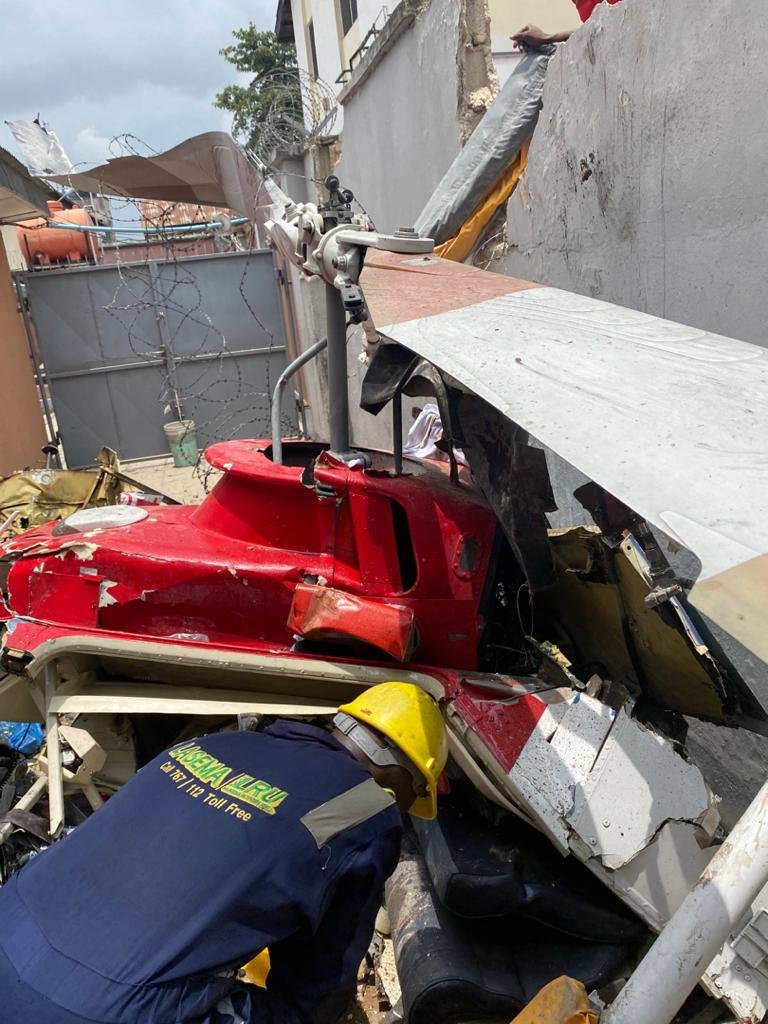 UPDATE: Photos from the scene of helicopter crash in Opebi Lagos 5