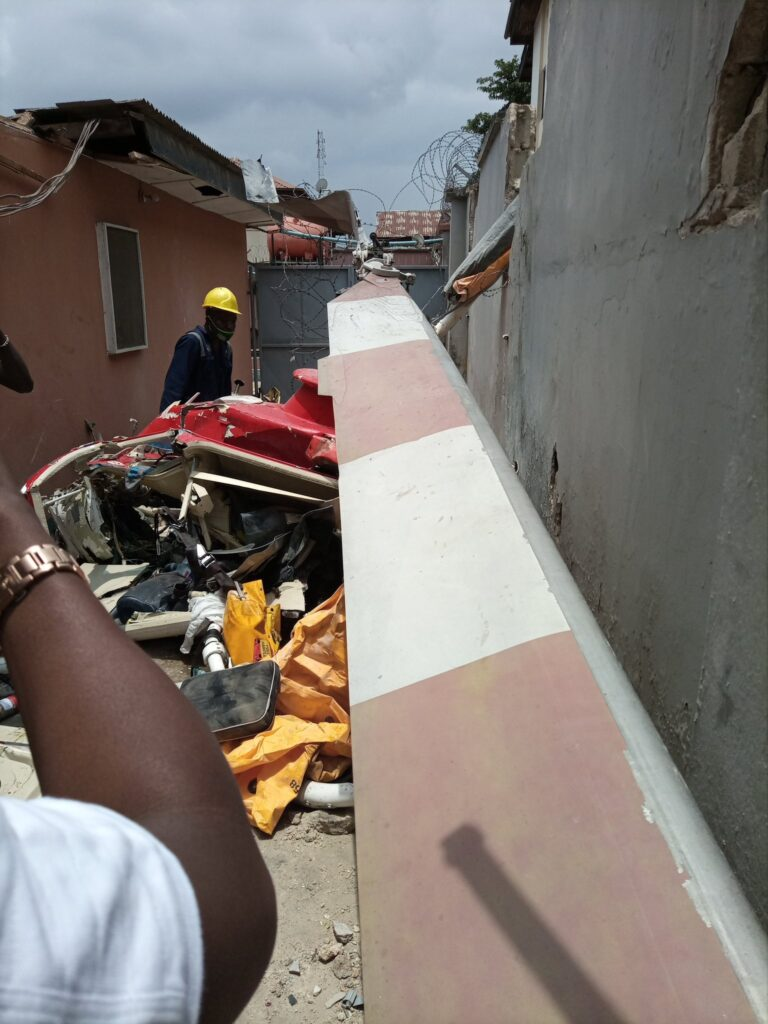 UPDATE: Photos from the scene of helicopter crash in Opebi Lagos 6