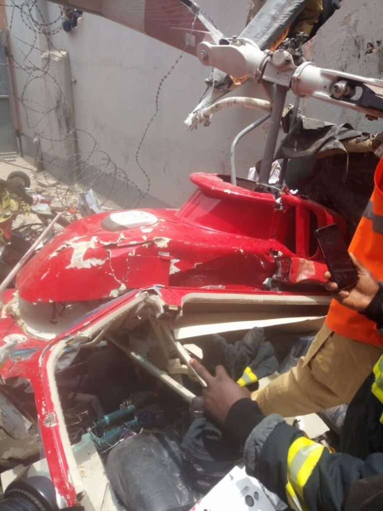 UPDATE: Photos from the scene of helicopter crash in Opebi Lagos 7
