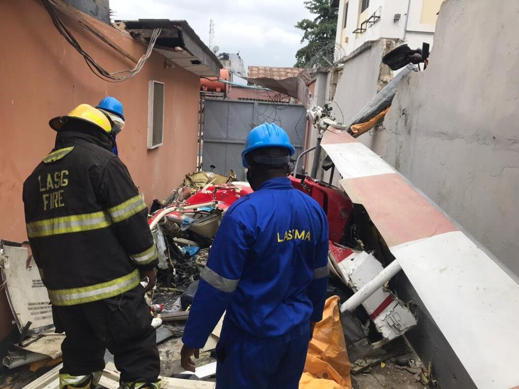UPDATE: Photos from the scene of helicopter crash in Opebi Lagos 12