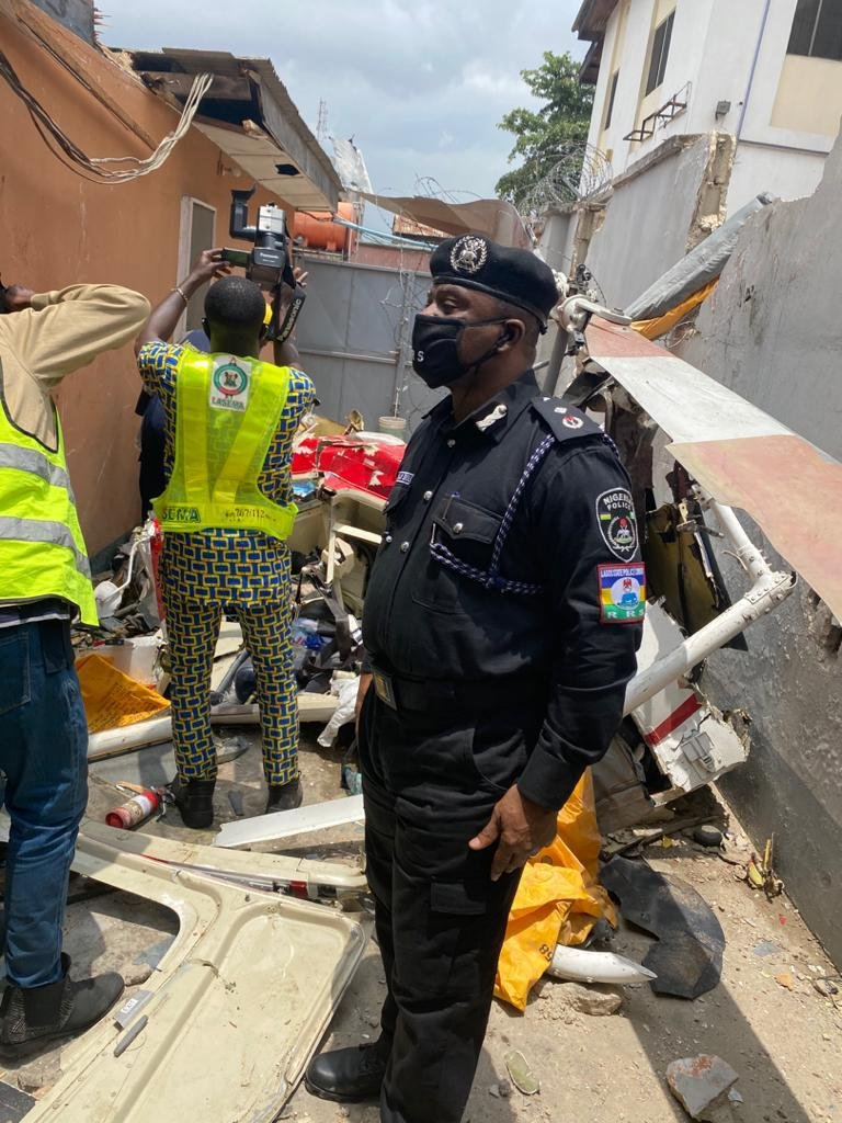 UPDATE: Photos from the scene of helicopter crash in Opebi Lagos 3