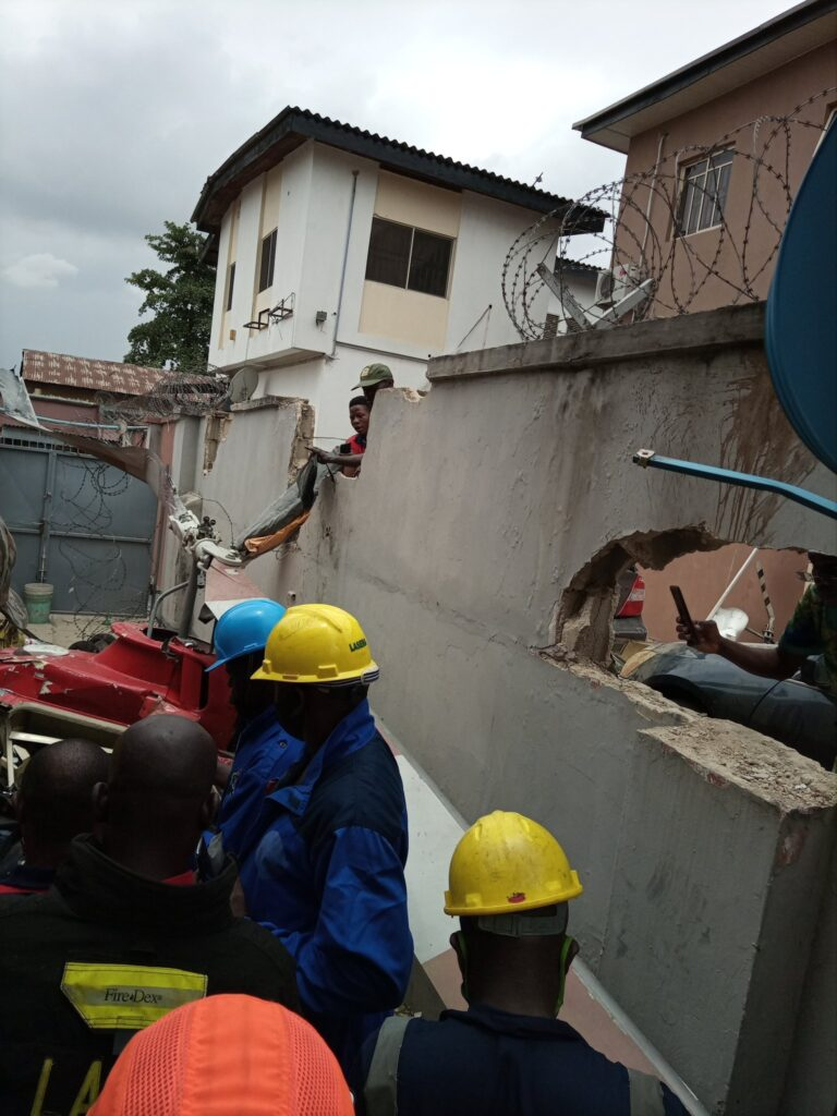 UPDATE: Photos from the scene of helicopter crash in Opebi Lagos 2