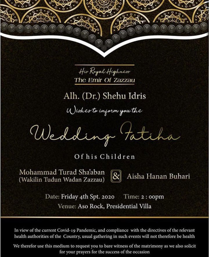 Wedding Invitation Of President Buhari's Daughter, Hanan And Fashola's Special Assistance 2