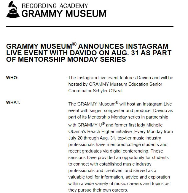 Grammy Museum Announces Instagram Live Event With Davido On Monday 2