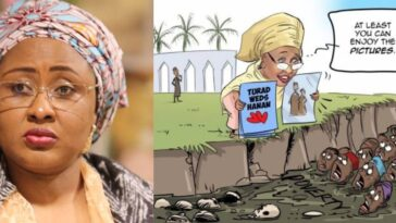 Aisha Buhari And Her Supporters Blast Daily Trust Over Cartoon On Daughter's Lavish Wedding 6
