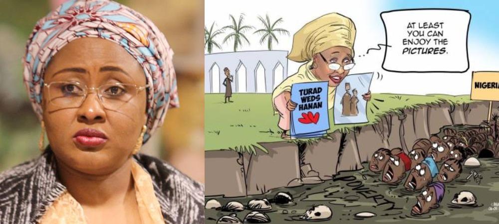 Aisha Buhari And Her Supporters Blast Daily Trust Over Cartoon On Daughter's Lavish Wedding 1