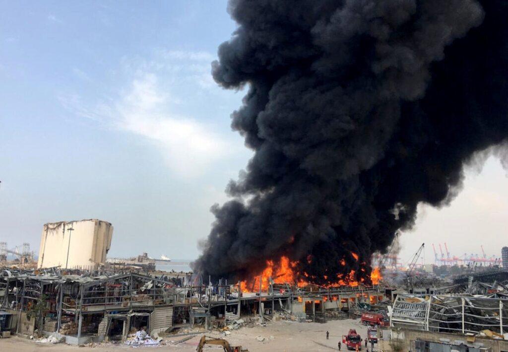 Huge fire at port of Beirut Lebanon just weeks after deadly explosion 1